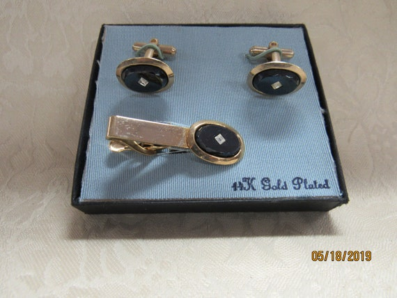 Vintage cufflinks and tie clasp