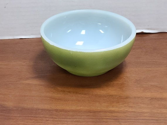 Vintage fire king olive green chili bowl