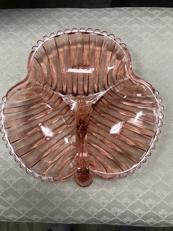 Pink glass divided serving dish candy or relish