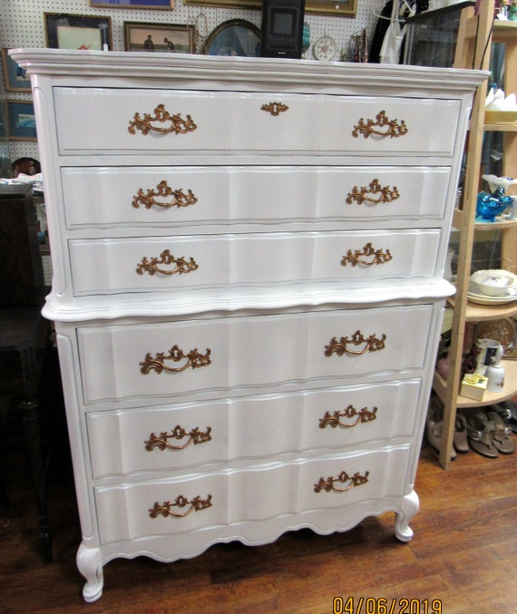 French Provincial Highboy Dresser by Basset