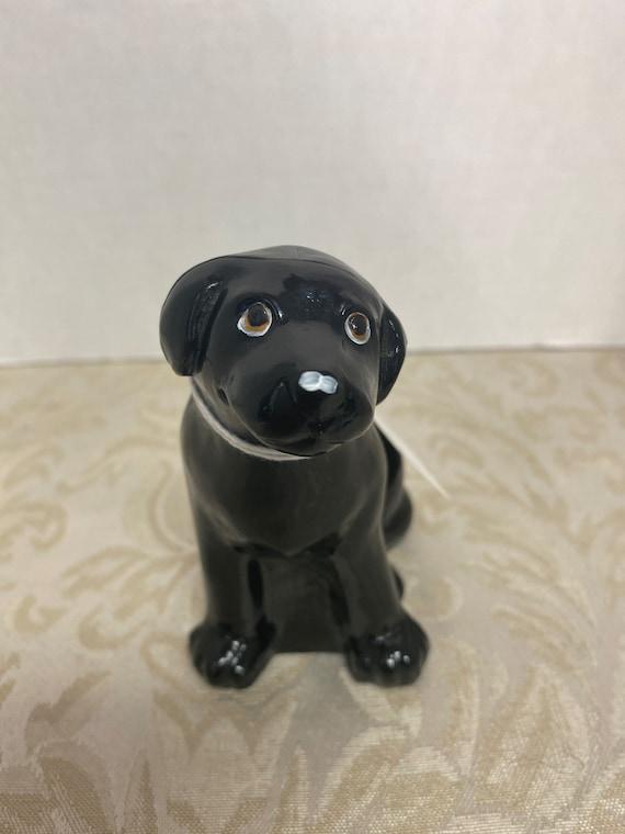 Fenton Black Onyx Glass Labrador Dog