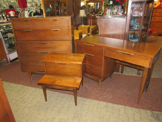 Mid Century Modern bedroom set - chest, desk and night stand