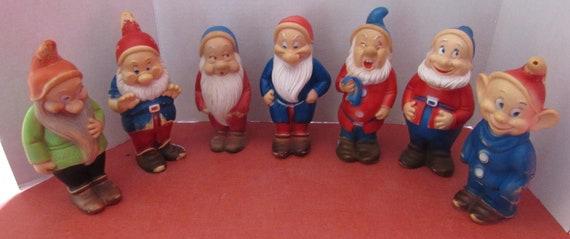 Walt Disney 7 Dwarfs rubber figures 1950's