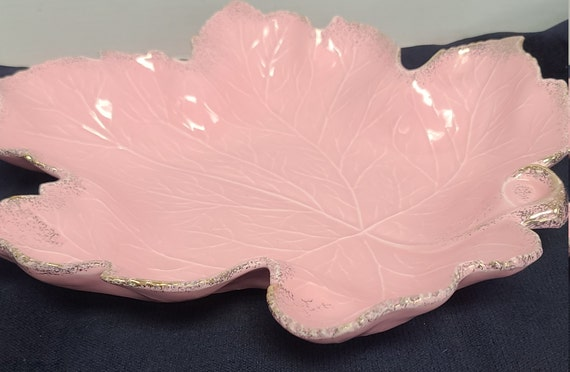 California Pottery pink leaf serving dish