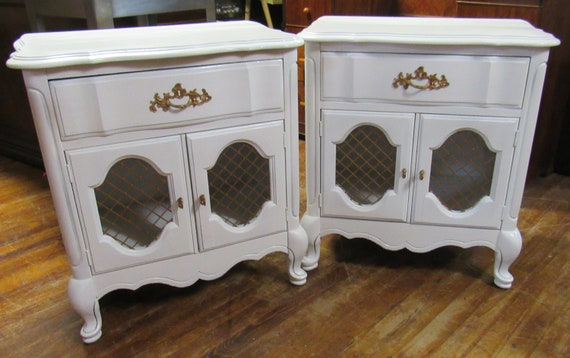 Pair of French Provincial white Night stands by Bassett