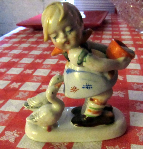 Occupied Japan girl with geese figurine