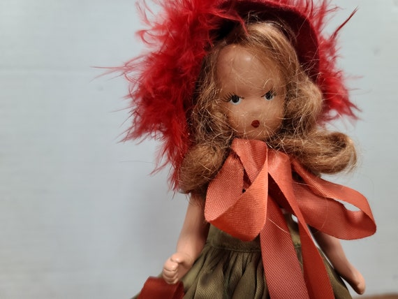 "Nancy Ann storybook doll brown hair 7""bisque 1940's in original outfit."