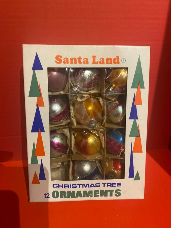 Vintage Christmas ornaments by Santa Land