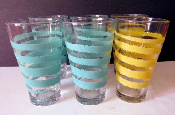 Six vintage Water Glasses turquoise and yellow
