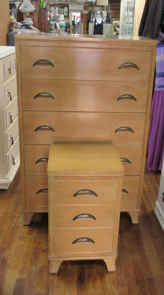 Mid Century Modern Blonde tall dresser and night stand