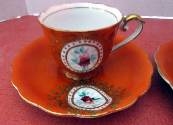 Pair of demitasse cups and saucers Made in Japan
