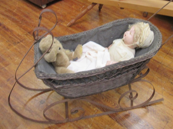 Antique doll sled carriage