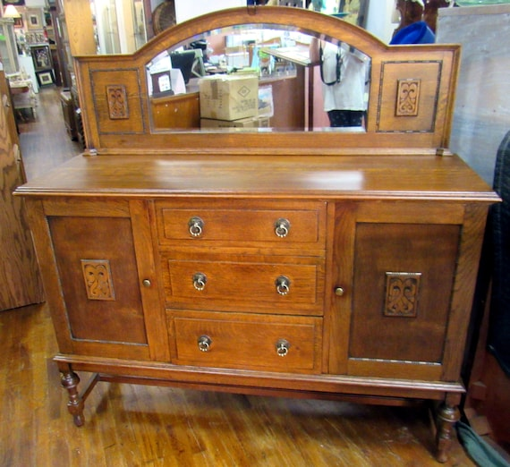 Antique oak small sideboard