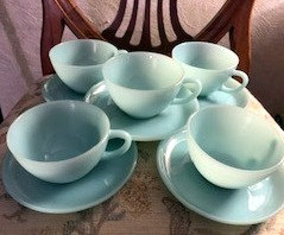 Fire King Blue Delphite cup and saucers