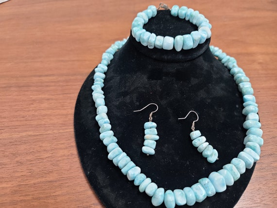 Larimar necklace, bracelet and earring set