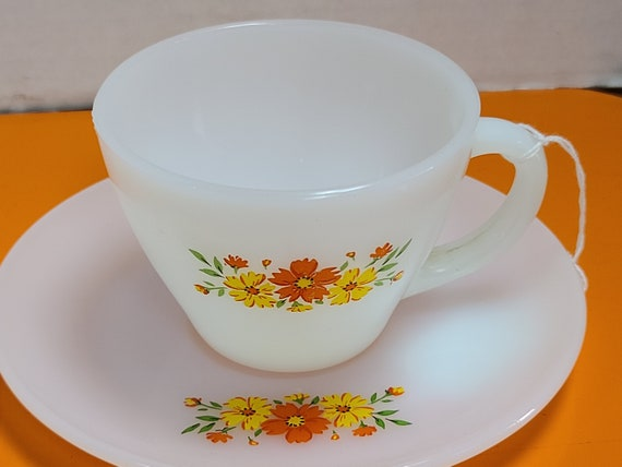 Vintage Fire King  Daisy pattern cup and saucer