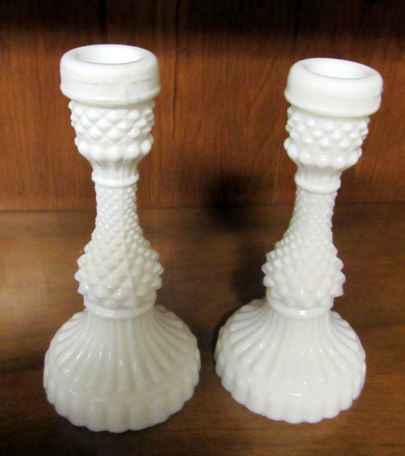 Candle holders hobnail milk glass