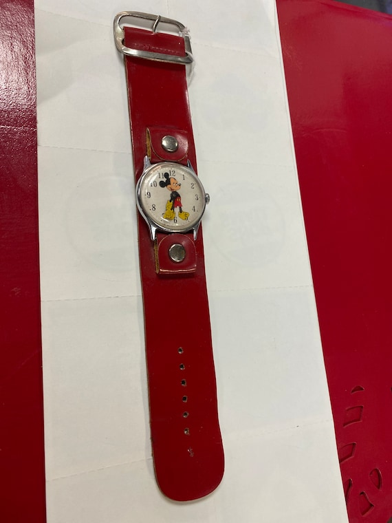 Mickey Mouse watch with thick red band