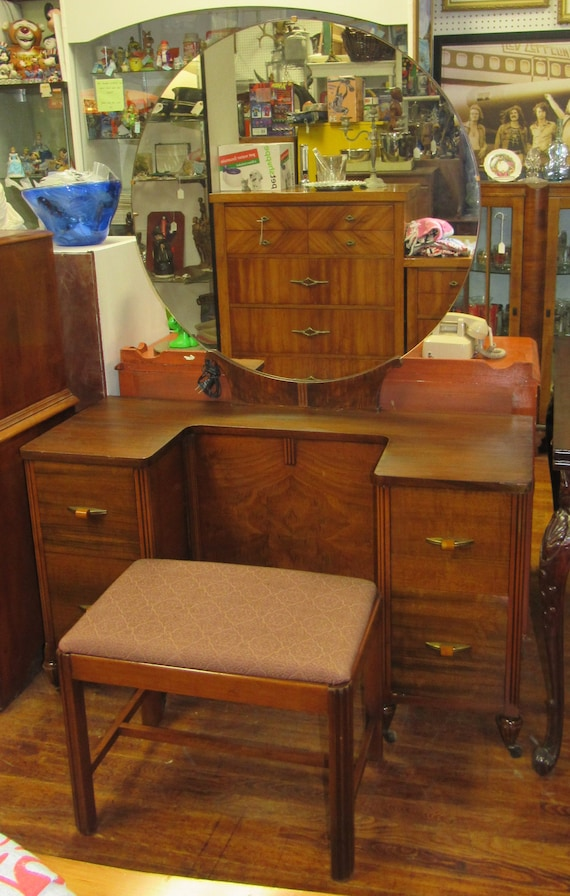 Art Deco Vanity with mirror and bench