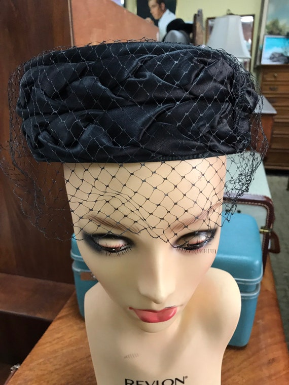 black hat with veil