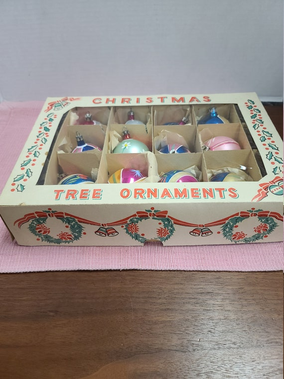 Vintage Christmas tree ornaments in original box