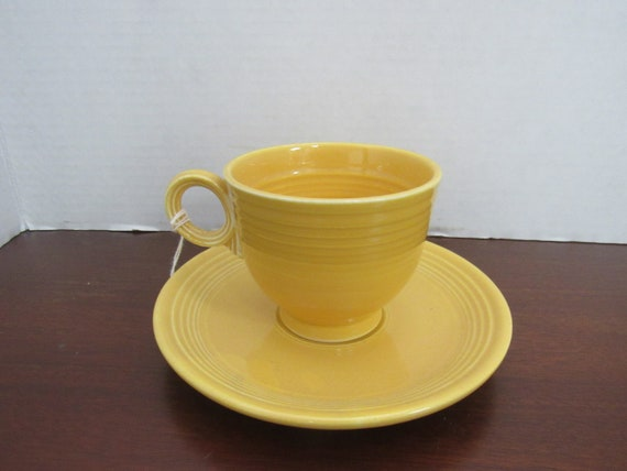 Fiesta yellow cup and saucer