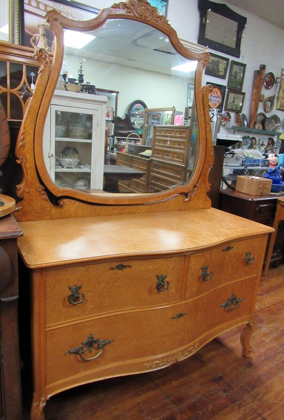 Birds-eye Maple Dresser with Mirror
