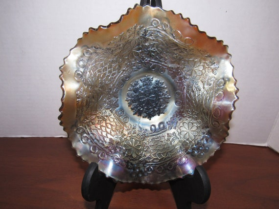 Carnival glass fluted dish