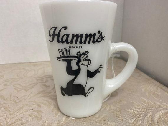 Hamm's Beer Theodore Bear Tall Fire King Glass Mug