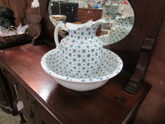 Antique washbasin bowl and water pitcher