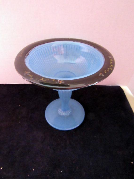 Art Deco Blue glass compote dish