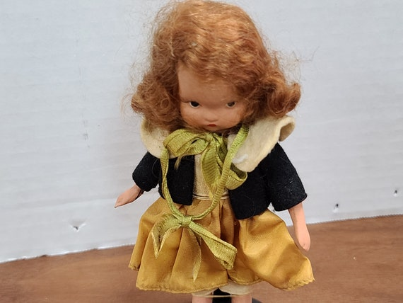 "Nancy Ann storybook doll red hair 5""bisque 1940's in original outfit."