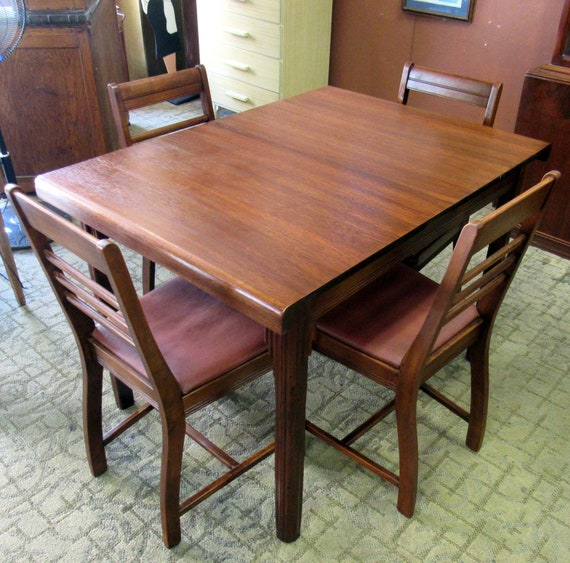 Art Deco Dining Room Table with butterfly leaf and four chairs waterfall style