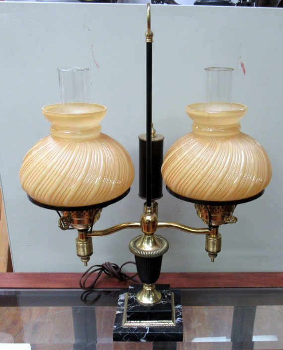 Butterscotch glass hurricane lamp