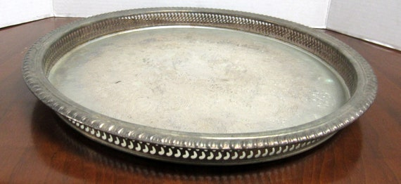 Rogers silverplate round serving tray