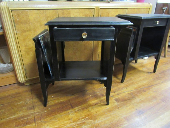 Vintage black end tables with magazine holders