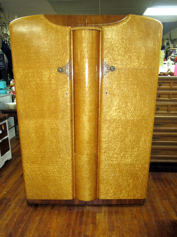 Birdseye Maple Armoire with center mirror