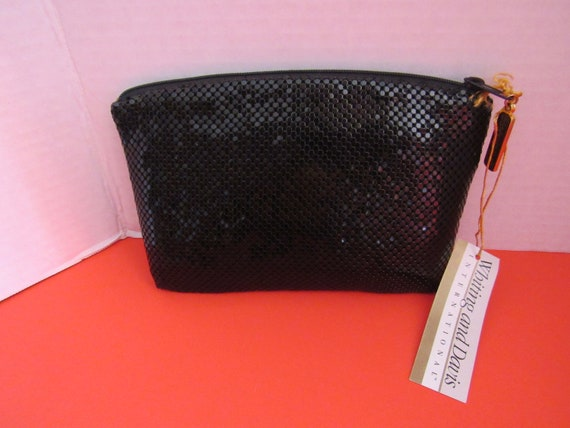 Whiting and Davis black mesh clutch purse with tags