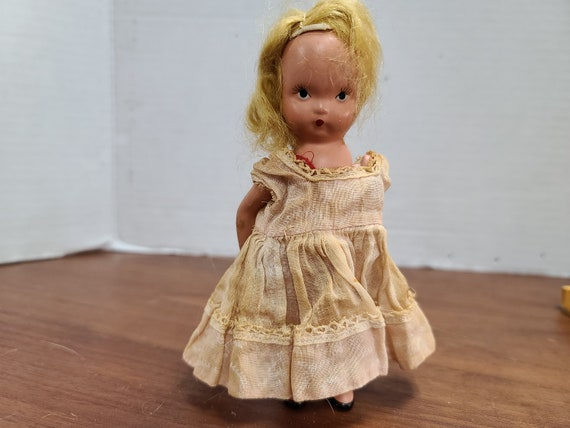 "Nancy Ann storybook doll blonde hair 5""bisque 1940's in original outfit."