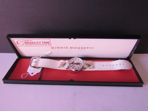 Minnie Mouse watch with white band and box
