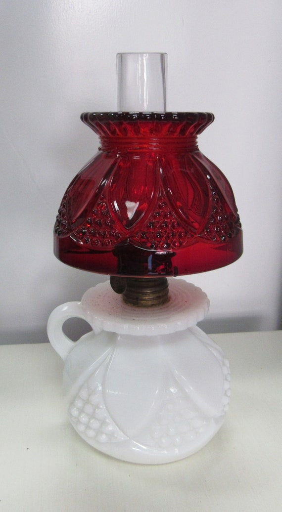 Antique oil lamp hurricane lamp milk glass and ruby pressed glass