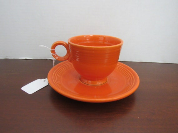 Fiesta orange cup and saucer