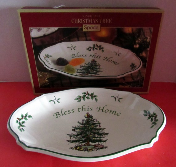 Spode Christmas Tree plate  Bless This Home