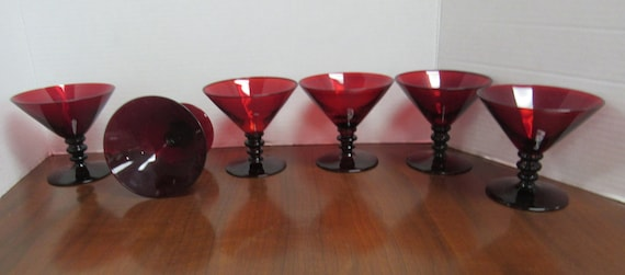 Ruby glass martini or wine glasses