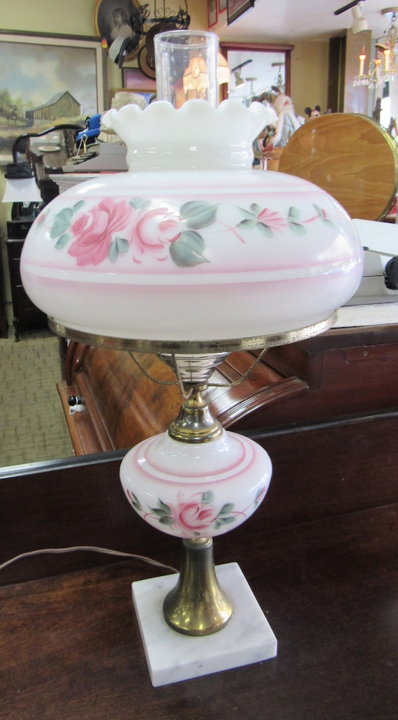 Hurricane lamp pink and white floral