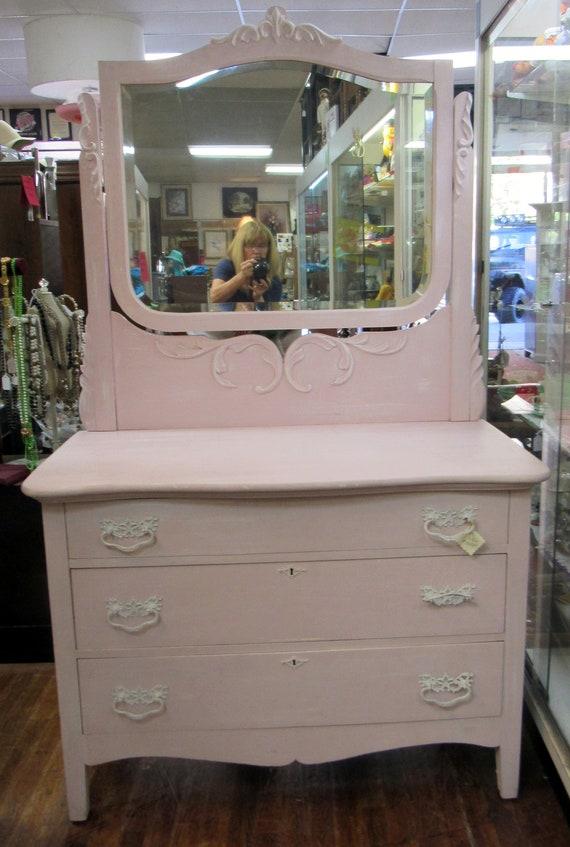 Pink Dresser with Mirror