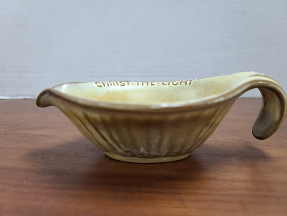 Frankoma Light brown and yellow glaze candle holder