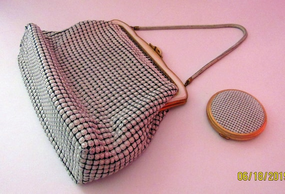 White mesh purse by Orton with matching compact