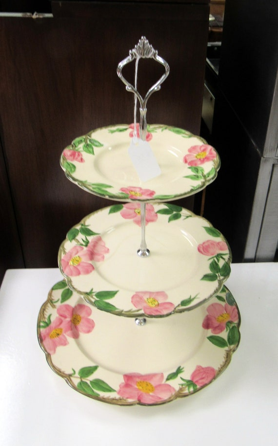 Franciscan three tiered cake server Desert Rose