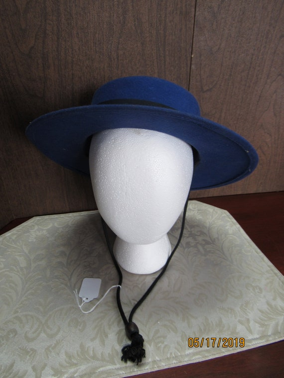 Royal blue hat with string tie